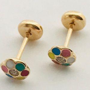 MultiColor Flower ScrewBacks Goldfilled Earrings